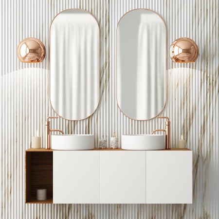 The interior of the bathroom is in Art Deco style. 3d illustration Imagens - 103324018