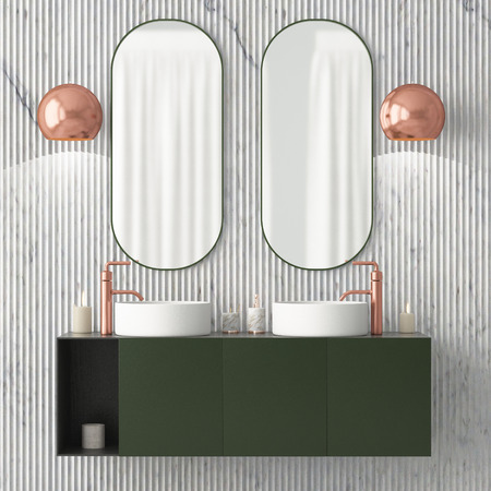 The interior of the bathroom is in Art Deco style. 3d illustration Stockfoto - 103324016
