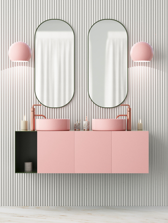 The interior of the bathroom is in Art Deco style. 3d illustration Stockfoto - 103324017