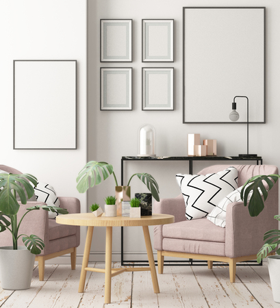 Mock up posters in the interior in the style of lagom. 3D rendering Stockfoto - 103700330