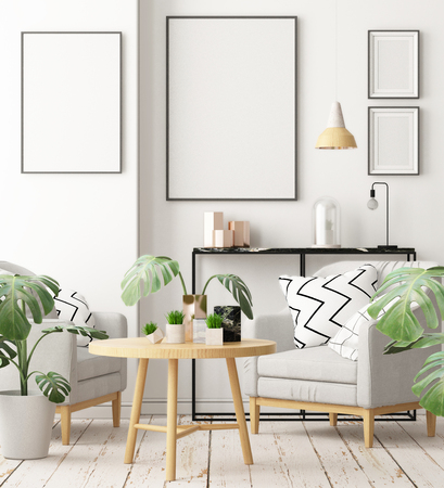 Mock up posters in the interior in the style of lagom. 3D rendering Stockfoto - 103700331