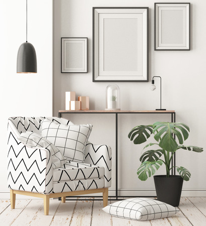 Mock up posters in the interior in the style of lagom. 3D rendering Stockfoto - 103700333
