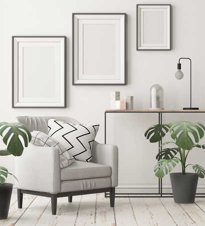 Mock up posters in the interior in the style of lagom. 3D rendering Stockfoto - 103700338