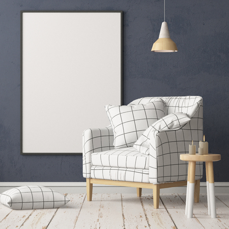 Mock up posters in the interior in the style of lagom. 3D rendering Stockfoto - 103700340