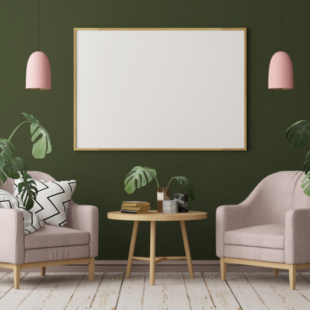 Mock up posters in the interior in the style of lagom. 3D rendering