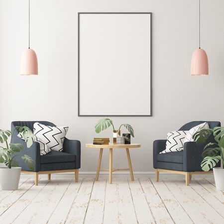 Mock up posters in the interior in the style of lagom. 3D rendering Stockfoto - 103700362