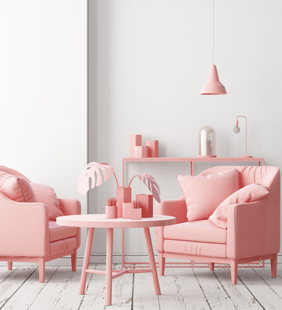 Mockup posters in the interior of the living room with a chair in pink. 3D rendering