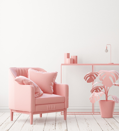 Mockup posters in the interior of the living room with a chair in pink. 3D rendering Stockfoto - 115155311