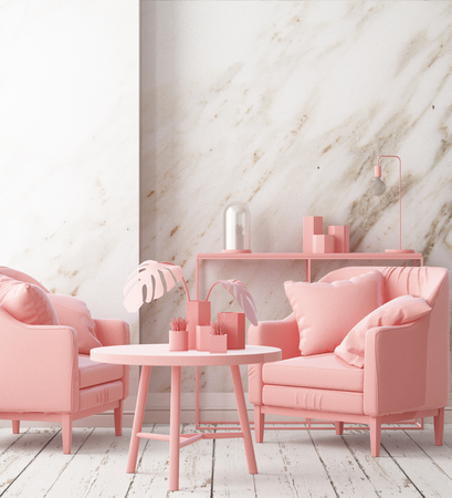 Mockup posters in the interior of the living room with a chair in pink. 3D rendering Stockfoto - 115155312