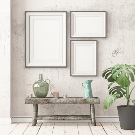 Mock Up Posters 3D Rendering Stockfoto