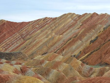 mudstone: Rainbow hills (multicoloured mudstone rocks) near Zangye (Zhangye Danxia) in Gansu province, China.