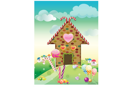 gingerbread and candy house Stock Vector - 8431610