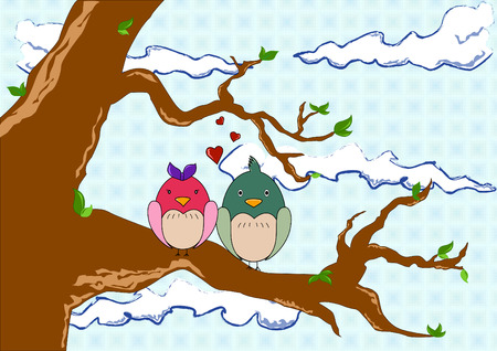love birds on a tree illustration Illustration