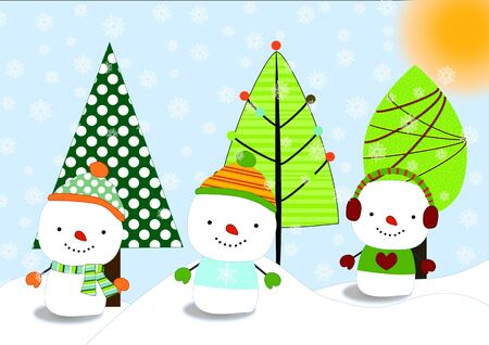 three snow men postcard
