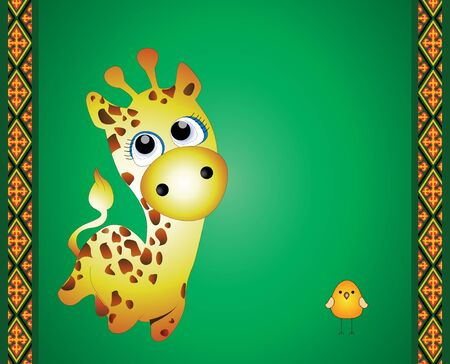 green giraffe postcard Stock Photo
