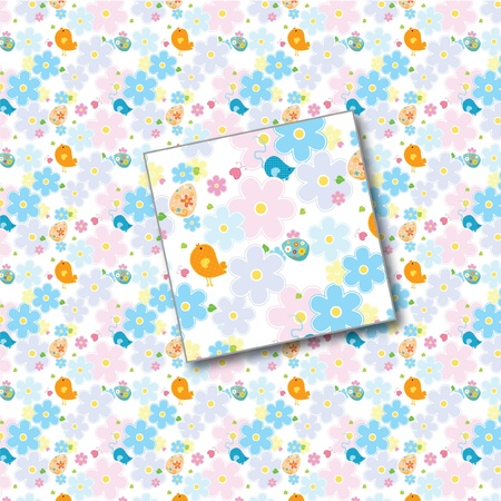 wllpaper floral spring summer seamless pattern with birds Vector