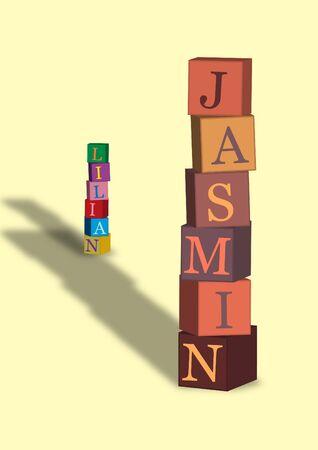 editable illustration of children playing blocks Stock Vector - 9621574