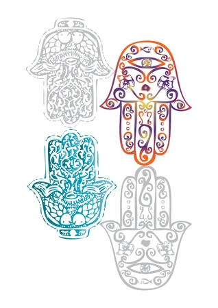 an amulet: Hamsah Jewish good luck charm hamsa or Miriam hand, vector illustration