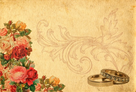 romantic  vintage retro background with roses and wedding rings