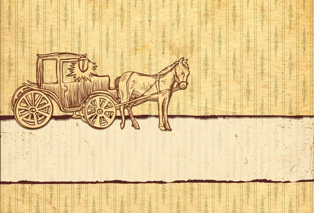 romantic  vintage retro background with a horse and carriage