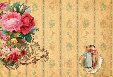 romántica de fondo retro vintage con rosas