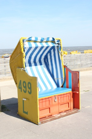 Yellow  beach seat or booth Stock Photo