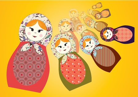 russian nesting dolls: 4 different russian nesting dolls Illustration