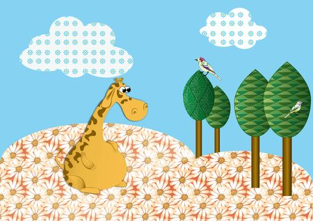 A bird watching Giraffe in a medow Illustration