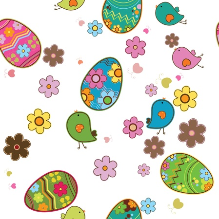 Vector pattern with easter eggs and birds