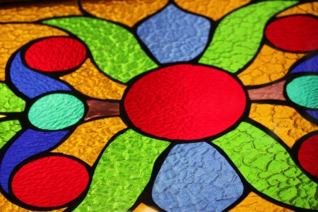 stained glass window closeup Stock Photo