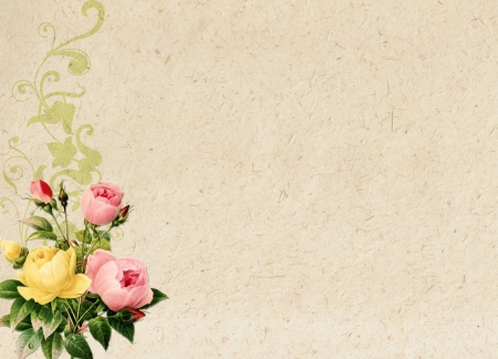 romantic vintage retro background with roses and floral ornament Stock Photo