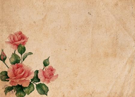 worn paper: Hermoso fondo retro vintage con rosas