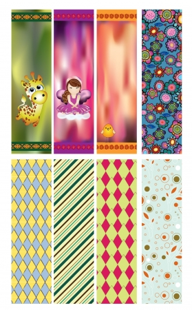 a set of bookmarks or banners with  patterns and images