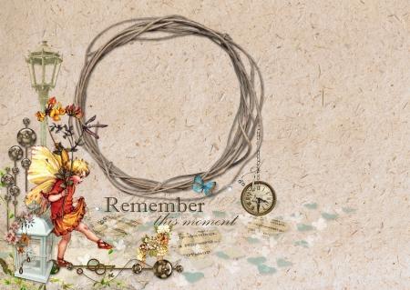 minable: Retro vintage frame romantique avec la f�e et de l'horloge Banque d'images