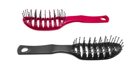 Black and pink hairdressing comb bambash on a white background