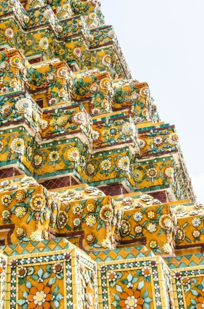 Floral patterns on the walls of the pagoda in Thai temple in Bangkok.