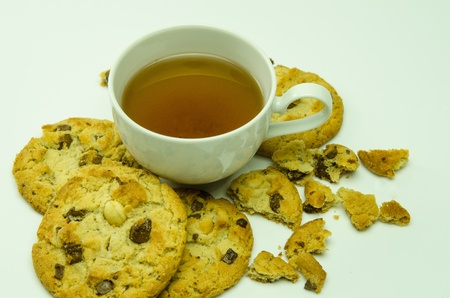 Tea and cookies chocolate mixture trees Stock Photo - 16810437