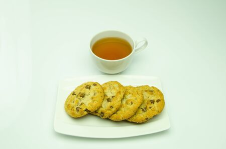 Tea and cookies chocolate mixture trees delicious  Stock Photo