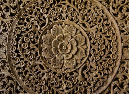 Sensitive patterns carved by artisans Thailand. Stock Photo