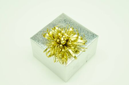 Bring a gift on a white background.