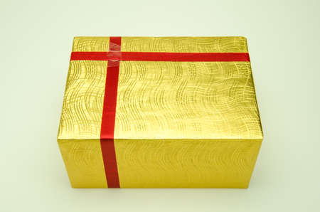 Golden gift box is prepared to shoot.
