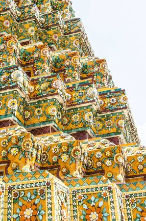 Floral patterns on the walls of the pagoda in Thai temple in Bangkok Stock Photo - 17041787