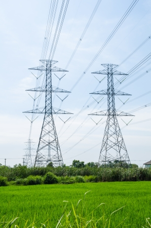 High voltage transmission lines running through the wires  To the industry in Thailand