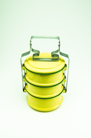 Tiffin is a container for a food  It is used in Thailand for a long time  Stock Photo