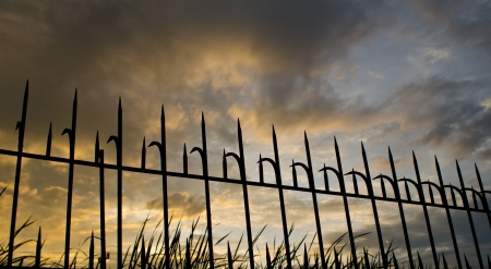 the fence in the dark