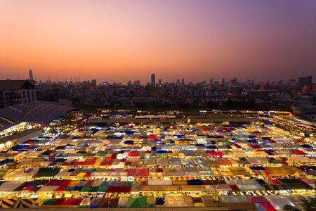 Night Market called Train Night Market at Ratchada Road, Bangkok, Thailand.Street Food, clothes and more. 写真素材