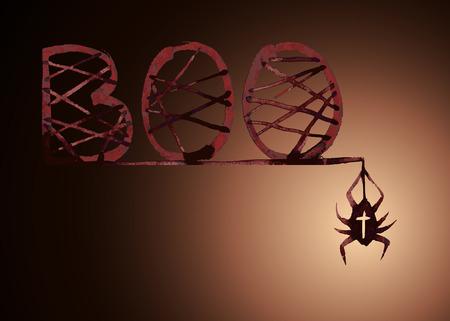 boo spider net vector illustration