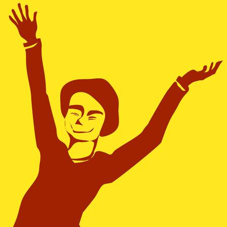 yellow vector: Happy boy yellow vector illustration