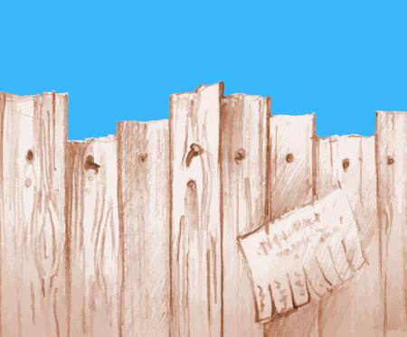 vector watercolor wooden fence colour Vector