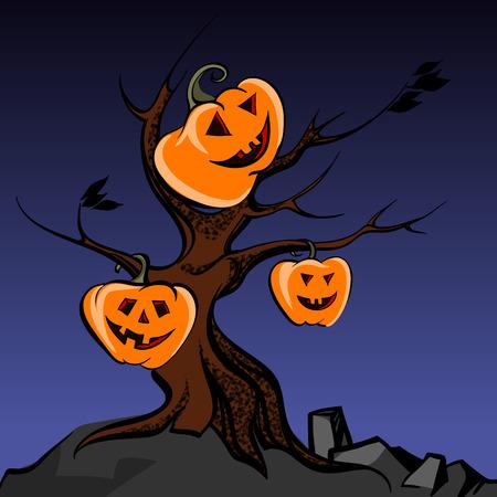gnarled: halloween trees creepy vector illustration
